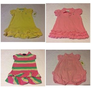 New ~ Girls Polo Romper & Dress sets size 6-9 m